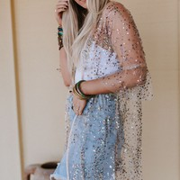 New Year's Wishes Sequin Kimono - Ivory