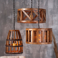 Wood and Wire Pendant Light