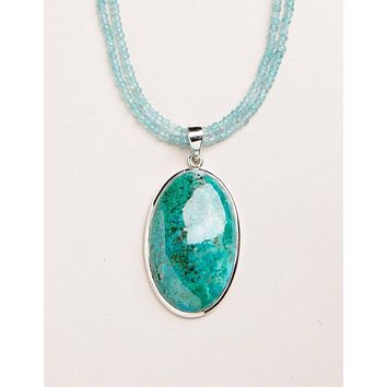 Chrysocolla and Apatite Beaded Necklace - One of a Kind