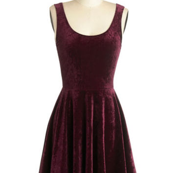 ModCloth Minimal Mid-length Tank top (2 thick straps) A-line Velvet, If You Please Dress in Merlot