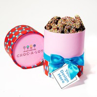 Dylan's Candy Bar Personalizable Choc-A-Lot Nonpareil Pretzels Gift Tube