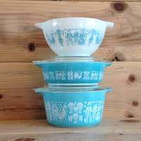 5 Pieces Pyrex Butterprint Turquoise Casserole and Cinderella Bowl 471 473 441 With 2 Lids 470
