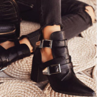 Hot style hot selling pointed sexy cut-out buckle stubby with short boots
