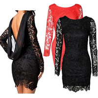 Plus Size Women 2015 Sexy Backless Lace Long Sleeve Evening Party Cocktail Prom Mini Dress S-3XL = 1956574916
