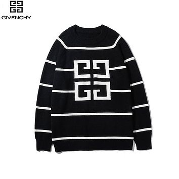 Givenchy 2019 new men and women logo pattern striped pullover sweater sweater Black