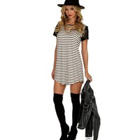 Pre-Order: Striped Tunic with Faux Leather Sleeves