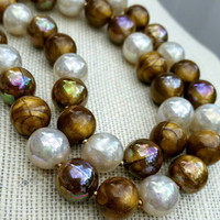 Vintage Bronze and White Faux Pearl Bead Necklace - Retro Boho Chic / Art Deco Nouveau / Gift / Classy / Graduation / Eye Catching
