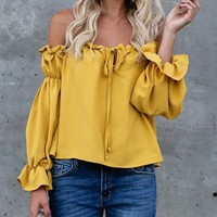 Yellow Off Shoulder Bow Tie Front Long Sleeve Blouse