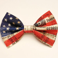 American Flag Bow • USA Hair Bow • Flag Fabric Bow • Novelty Hair Bow • Women's Fashion • Gifts For Women • July 4th Gifts • Holiday Gifts
