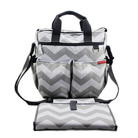 Nappy Bags Chevron Baby Diaper Bag Changing Mat by NimNik Best Quality Designer for Girls Boys Twins, Shower Gifts for Mom Dad