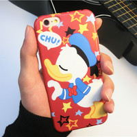Funny Couple Love Minnie Cover Mickey Mouse Wink Daisy Shy Donald Duck silicon Soft Case Cover For iPhone 6 6s 6 Plus 6s plus