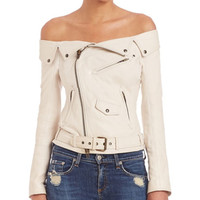 Women Sexy Fashion Off The Shoulder Faux PU Leather Jackets Punk Rock Roll Outerwear Flat Shouders Slim Motorcycle Jacket White