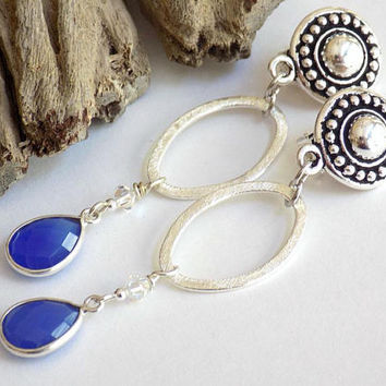 Clip on Earrings for Adults, Silver Earrings, Non Pierced Earrings, Handcrafted Jewelry, Blue Dangle Earrings, Gemstone Earrings for Women