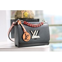 LV Louis Vuitton EPI LEATHER TWIST HANDBAG INCLINED SHOULDER BAG