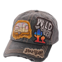 Happy Camper Wild & Free Hey Ya'll Distressed Cotton Baseball Cap Hat Black, Embroidered On Torn Denim Decor
