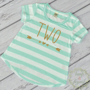Girl Second Birthday Shirt 2 Year Old Birthday Shirt Girl Two Year Old Birthday Girl Outfit Toddler T-Shirt 2nd Birthday Shirt Green 133