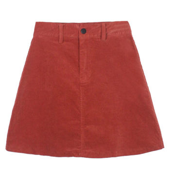 Red High Waist Washed Velvet A-line Skirt
