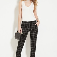 Drawstring Grid-Patterned Pants