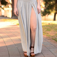All Legs Maxi Skirt- Heather Grey