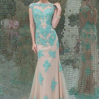 High Neck Mermaid Evening Dress Formal Prom Cocktail Party Pageant Wedding Dress