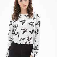 FOREVER 21 Boxy Boston Terrier Sweatshirt Heather Grey/Black