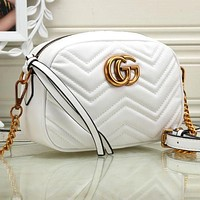 Gucci Trending Ladies Metal GG Chain Leather Crossbody Satchel Shoulder Bag White I