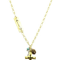 NECKLACE / MULTI TONE / METAL CROSS CHARM / ARROW / HAMMERED / TEXTURED / LUCITE / LINK / CHAIN / 26 INCH LONG / 2 1/2 INCH DROP / NICKEL AND LEAD COMPLIANT