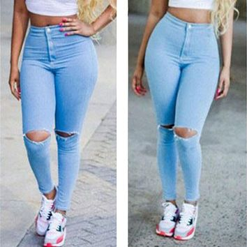 2017 Hirigin Sexy Women High Waisted Full Length Jeans Skinny Stretchy Pants Ripped Distressed Pencil Jeggings pants