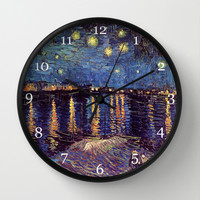 Famous Art, Starry Night over the Rhone, by Vincent van Gogh. Wall Clock by ArtsCollection