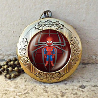 Spiderman movie cartoon Locket necklace, Spiderman locket necklace - ready for gifting - buy 3 get 4th one free