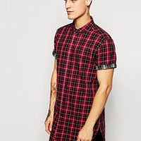 ASOS Super Longline Shirt With Double Check