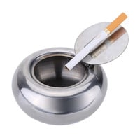 Stainless Steel Drum Shaped Ashtray with Lid