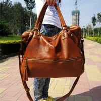 Oryer Brown Lady Korean Hobo Pu Tassel Leather Handbag Shoulder Bag Large Capacity