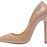 Littleboutique Classic Lady Pointed Toe Pumps Dress Stiletto Pumps Womens Formal Evening High Heel Shoes nude 9