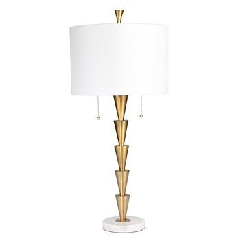 """Brass Stacked Cones Table Lamp W/ Marble Base 34""""H, Gold"""