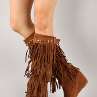Bridget-02HI Fringe Studded Moccasin Knee High Wedge Boot