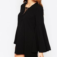 ASOS PETITE Exclusive Flare Sleeve Dress with Lace Front Detail at asos.com