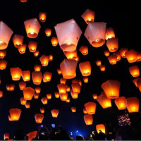 Chineses Sky Paper Lanterns Lamps Flying Wishing Lantern Decor For Outdoor Party Decoration Balloon Halloween Christmas