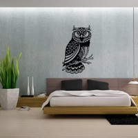 Owl Bird on a Tree Branch Vinyl Decals Wall Art Sticker Home Modern Stylish Interior Decor for Any Room Smooth and Flat Surfaces Housewares Murals Design Graphic Bedroom Living Room (4238)