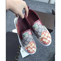 Gucci: FLOWERS DESIGN LOAFER SHOES FLAT CASUAL SHOES F