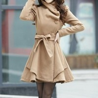Slim stylish large size single-breasted woolen coat BBBJB from foreverunique