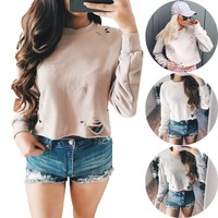 Winter Crop Top Ripped Holes Long Sleeve Hoodies Bottoming Shirt [10159878279]