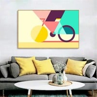 Wall Pictures for Living Room Abstract Canvas Art Geometric Bicycle Posters and Prints Geometry Creative Nordic Bike Cuadros