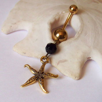 Gold Belly Button Ring - Piercing - Curved Barbell - Navel Piercing - Gold Starfish Charm with Jet Black Crystal