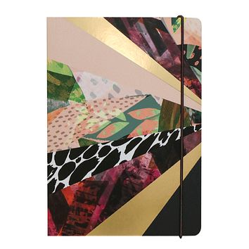 Kaleidoscope Luxe Lined Notebook With Elastic Closure and Gold Gilded Edges