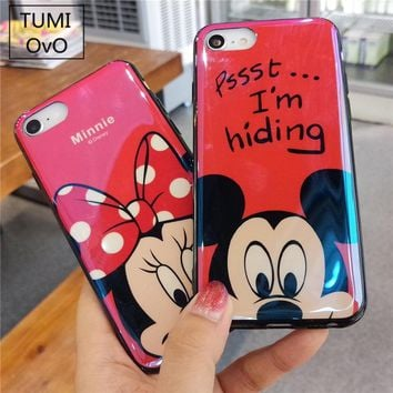 Gradient Blue Light Solf Silicone Cover Winnie Pooh Pink Pig Mickey Minnie Mouse Pattern Phone Case For iPhone 6 6s 7 8 Plus X