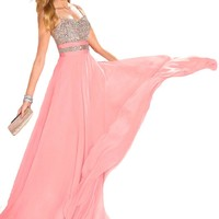 Faironly Halter Silk Chiffon Women's Formal Prom Dresses
