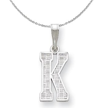 Textured Block Initial C Pendant Sami Collection Black Bow Jewelry Sterling Silver