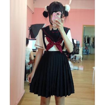 Cute Women's Japanese School Uniform Girls Solid Pleated Skirt JK Suspender Jumper Skirt Preppy Style 4 Colors Size S-L