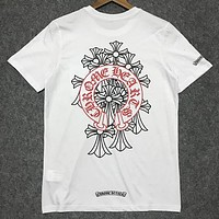 Chrome hearts 2019 new street fashion cross print round neck shirt T-shirt white